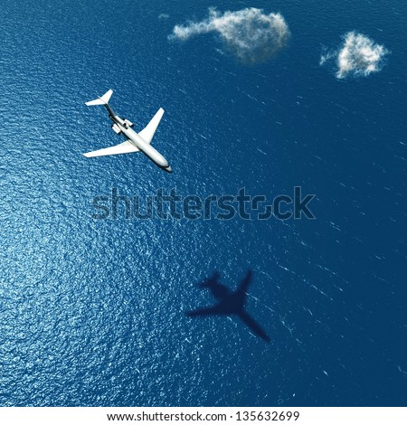 airplane flies over a sea - stock photo