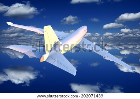 Airplane Flight Illustration. Blue Cloudy Sky and the Commercial Passenger Airplane.