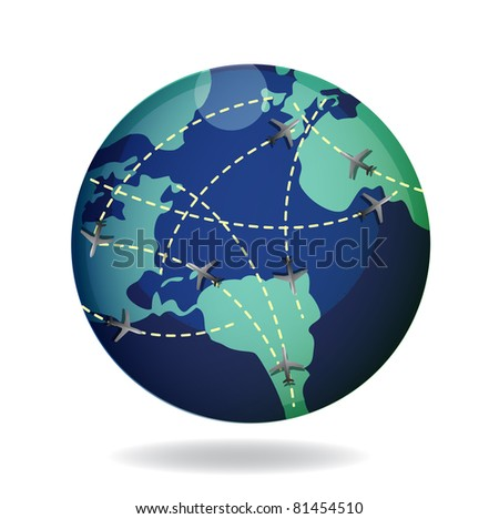 airplane flight paths over earth globe illustration - stock photo