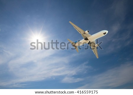 Airplane fly on sky  - stock photo