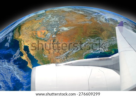 airplane fly over the earth ,including elements furnished by NASA - stock photo