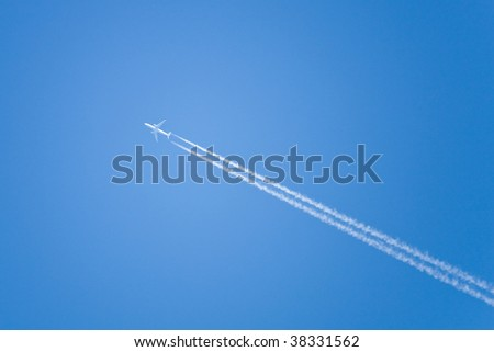 airplane fly soar at blue sky - stock photo