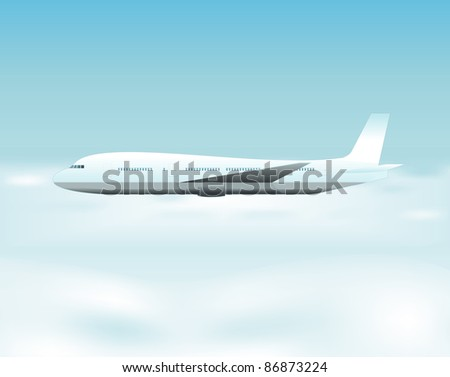 Airplane Flying Above The Clouds/ Illustration of an airplane flying above the clouds