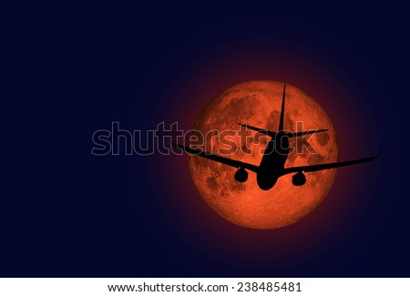 "airplane flying across a full moon ""Elements of this image furnished by NASA"