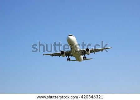 Airplane flying blue sky