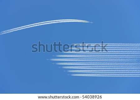 Airplane flying different way. - stock photo