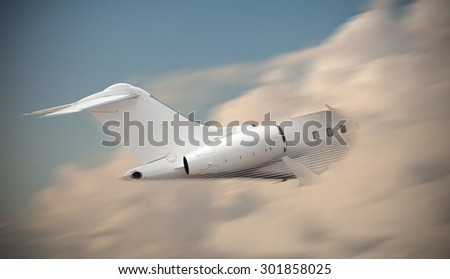 Airplane flying into the clouds  - stock photo