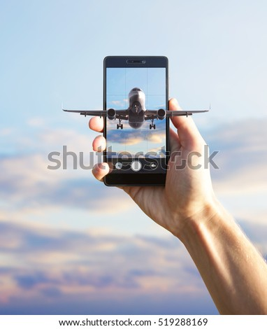 Airplane flying out the smartphone.