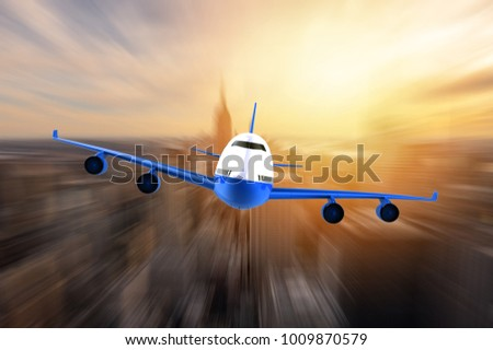 Airplane flying over a moden metropoly: 3D illustration