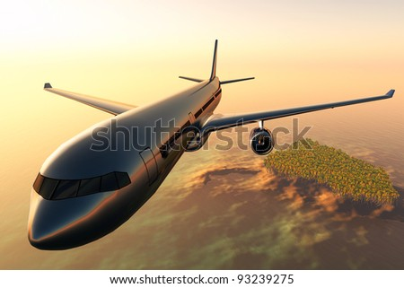 Airplane flying over a tropical island in the sunset 3D render