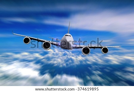 Airplane flying over cloudy sky - stock photo