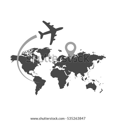 Airplane flying over world map travel stock illustration 535263847 airplane flying over world map travel with destination concept symbol in trendy flat style gumiabroncs Choice Image