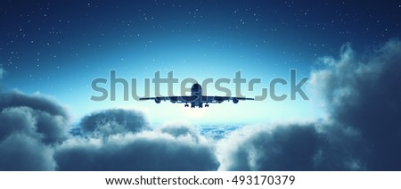 Airplane flying overclouds. This is a 3d render illustration