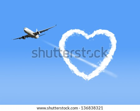 Airplane Flying Through Heart Shaped Cloud. - stock photo
