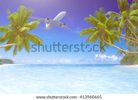 Airplane Flying Tropical Beach Concept - stock photo