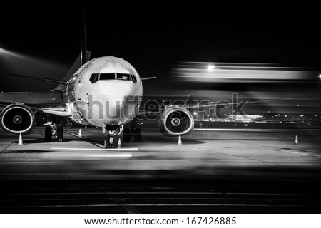 airplane front close-up - stock photo