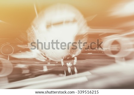 airplane front close-up double exposure - stock photo