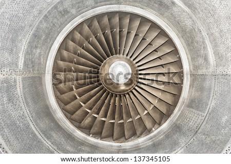 Airplane gas turbine engine detail - stock photo
