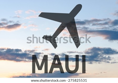 Airplane icon & inscription Maui - stock photo