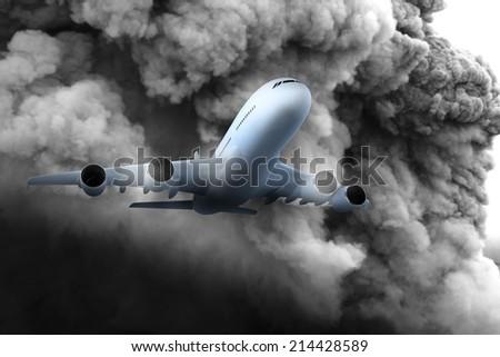 airplane in a dark stormy sky - stock photo