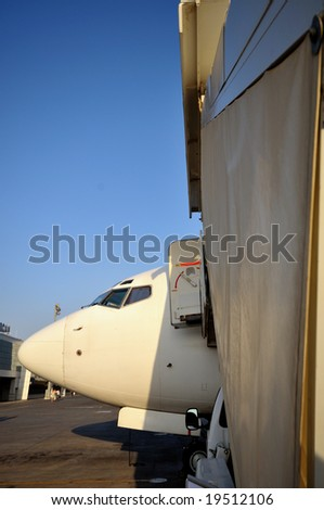 Airplane in airport of Ercan, Northern Cyprus - stock photo