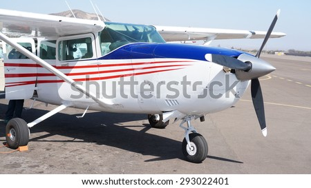 Airplane in Nazca - stock photo