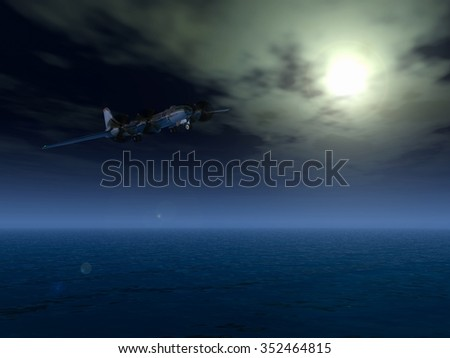 airplane in night sky