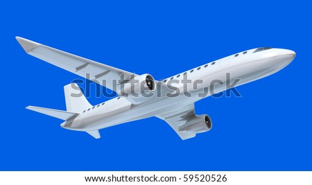 Airplane in the air isolated on blue sky. My own design - stock photo