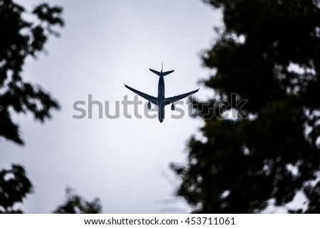 Airplane in the sky. concept for holiday - stock photo