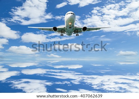 Airplane in the sky Good weather day background with reflex