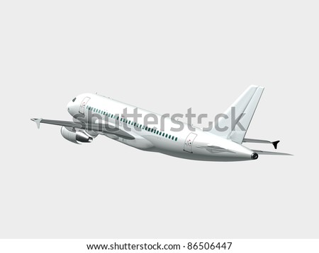 Airplane in the sky - Passenger aircraft in flight side rear view isolated - stock photo