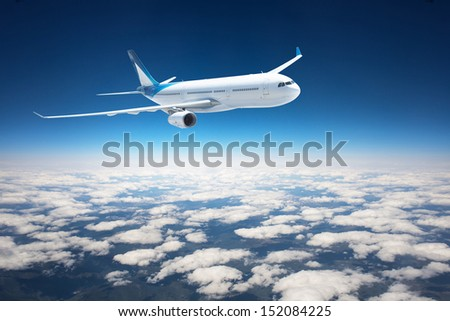 Airplane in the sky - Passenger Airliner / aircraft