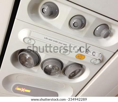 Airplane interior - Airbus A320 - stock photo
