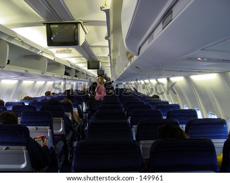 airplane interior inside seats seat airport before takeoff aircraft penssenger - stock photo