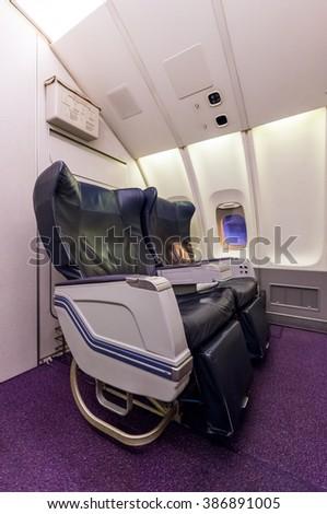 airplane interior seats - stock photo