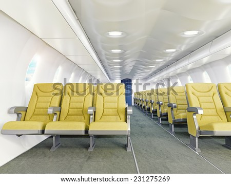 airplane interior seats .3d rendering - stock photo