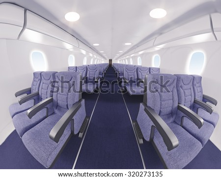 airplane interior seats.fish eye effect. 3D rendering