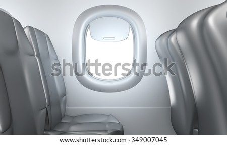 Airplane interior, seats, window - stock photo