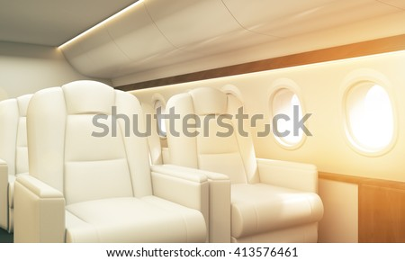 Airplane interior with white leather armchairs, wooden insertions and several portholes with sky view. Toned image. Sideview, 3D Rendering - stock photo