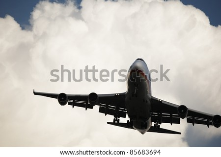 Airplane is landing. - stock photo