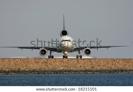 Airplane is preparing to take off - stock photo