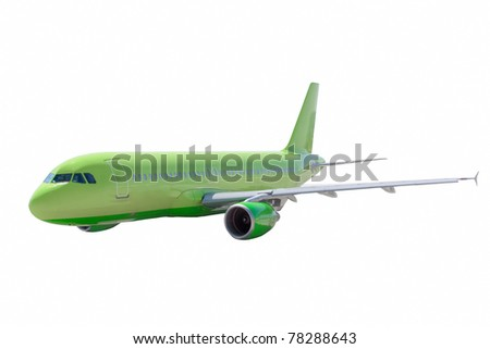 Airplane isolate over white - stock photo