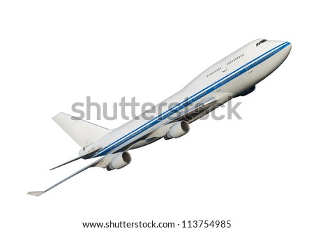 airplane isolated on white background.  passenger airplane in flight. nobody