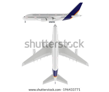 Airplane isolated. Top and Front view - stock photo