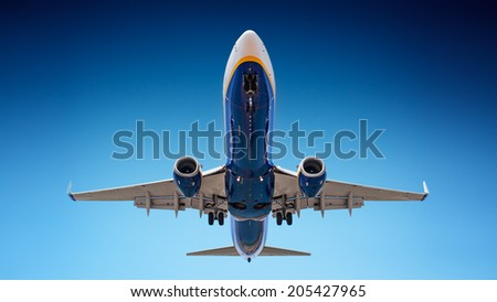 Airplane landing - stock photo