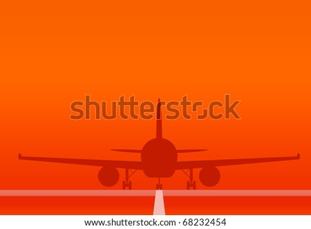 Airplane Landing and Take off at sunset - stock photo