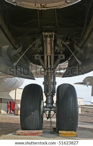 airplane landing gear - stock photo