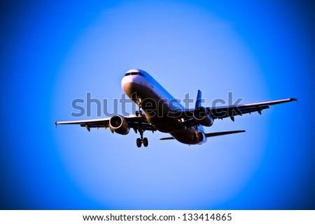 Airplane landing in Frankfurt - stock photo
