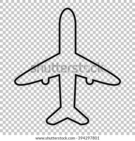Airplane Line Icon On Transparent Background