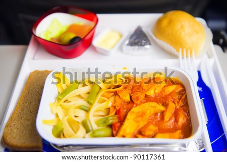 Airplane lunch - stock photo
